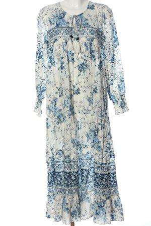 Zara Maxikleid weiß-blau Blumenmuster Casual-Look