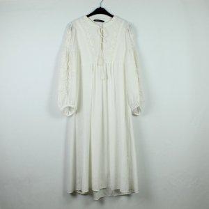 Zara Woman Vestido Hippie blanco Poliéster