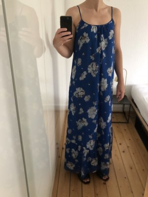 Zara Maxikleid lang Spaghettiträger Blumenmuster Volants M