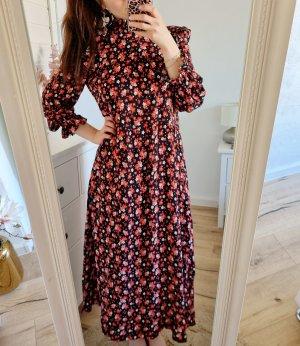Zara Maxikleid rot schwarz Blumen Kleid Rüschen Saum XS