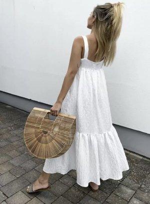 Zara Maxikleid weiß Midikleid Blogger weites Kleid Strukturmuster Volantkleid Babydoll M 36 38
