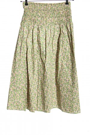 Zara High Waist Rock grün-blassgelb Allover-Druck Casual-Look