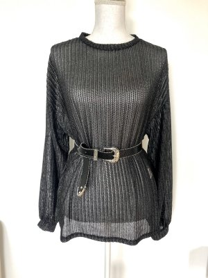 ZARA Metallic Pullover Gr S Schwarz Silber oversize
