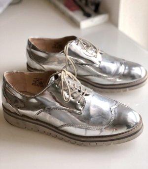 Zara metallic Schnürschuhe Sneaker Gr 40  silber