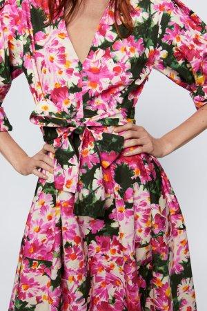 ZARA midi GEMUSTERTES Sommer KLEID +GÜRTEL Tunika Blumen Muster geblümt M 38