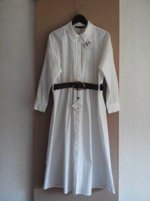 Zara Midi- Hemdblusenkleid aus 100% Baumwolle mit Gürtel, Grösse L, neu