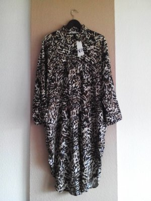 Zara Midi-Hemdblusenkleid aus 55% Leinen in Animalprint, Grösse M, neu