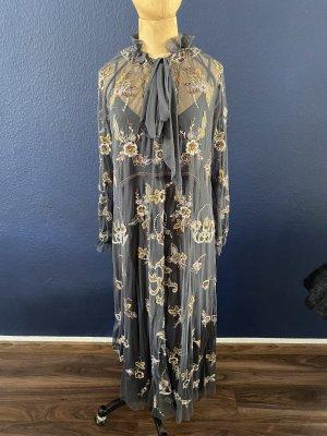 Zara Midi Kleid bestickt Gr M mit Unterkleid