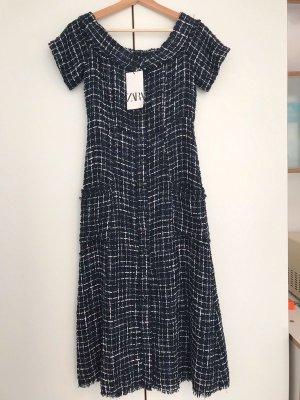 Zara Midi Kleid Tweed Boucle Dress blau schwarz weiß Gr M 38 TOP