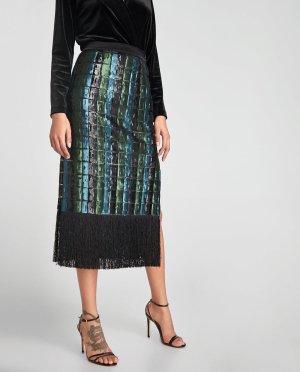 Zara Jupe à franges multicolore