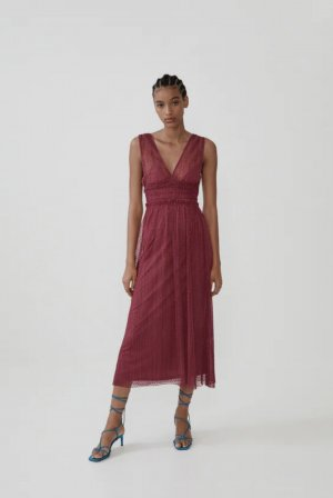 Zara Midi Plumetis-Kleid | Gr. L | granatrot
