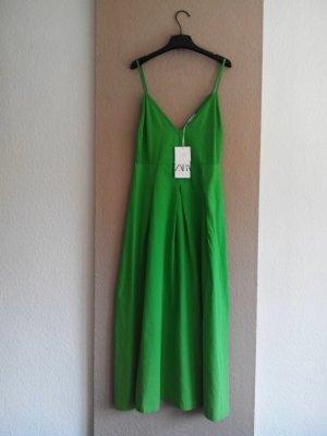 Zara Midi Trägerkleid in hellgrün aus 100% Baumwolle, Größe 38, neu
