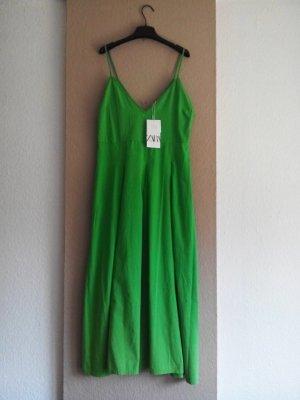 Zara Midi Trägerkleid in hellgrün aus 100% Baumwolle, Größe 40, neu