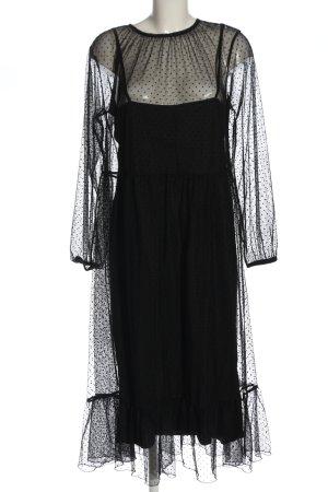 Zara Midikleid schwarz Punktemuster Elegant