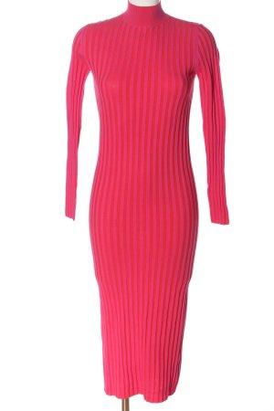 Zara Midikleid rot-pink Streifenmuster Casual-Look
