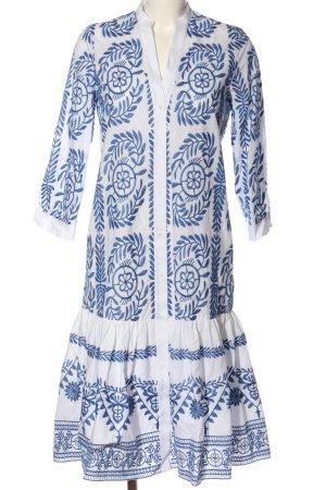 Zara Midikleid weiß-blau Schriftzug gestickt Casual-Look