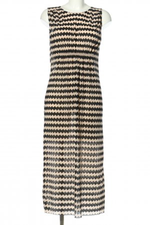 Zara Robe mi-longue noir-crème imprimé allover style décontracté
