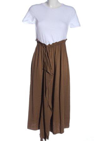Zara Sukienka midi biały-brązowy W stylu casual
