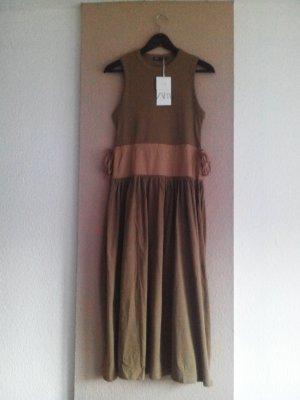 Zara Midikleid aus Baumwolle in hellbraun, Größe S, neu
