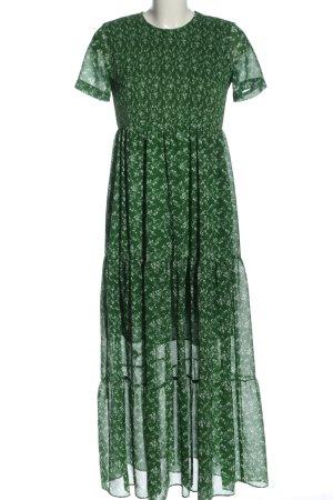 Zara Robe mi-longue vert-blanc imprimé allover style décontracté