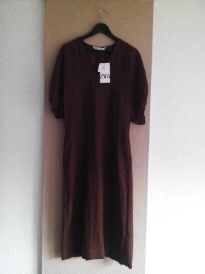 Zara Midikleid in braun aus Lyocell, Grösse S oversize, neu