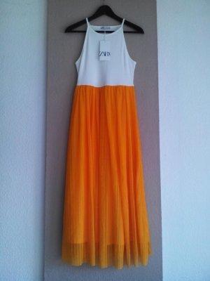 Zara Midikleid ind weiß-orange Farbkombination, Größe M, neu
