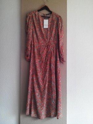 Zara Midikleid mit Detail an der Taille, 100% Viskose, Größe 40, neu