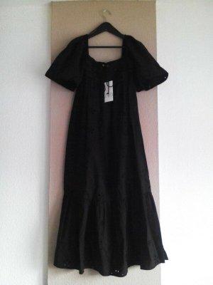 Zara Midikleid mit Lochstickerei in schwarz aus 100% Baumwolle, Grösse S, neu