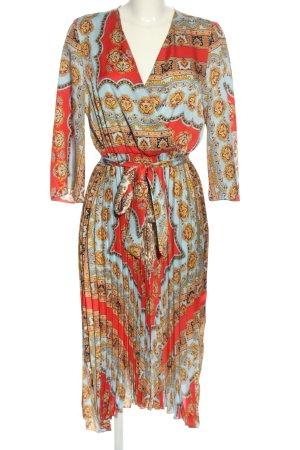 Zara Midikleid rot-blau grafisches Muster Casual-Look