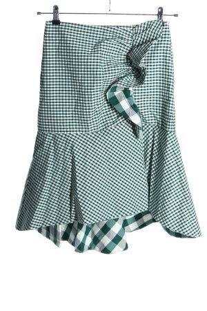 Zara Volanten rok wit-groen abstract patroon casual uitstraling