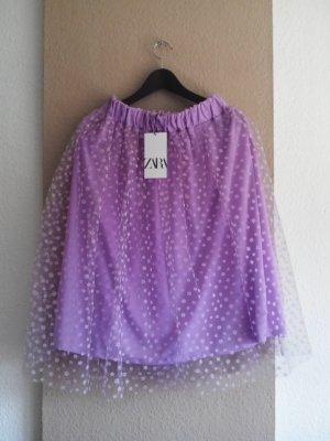 Zara Midirock in lila mit Transparentem Einsatzt, Grösse M, neu