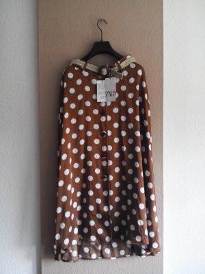 Zara Midirock mit Gürtel, hellbrau mit Dots in creme, Grösse S, neu