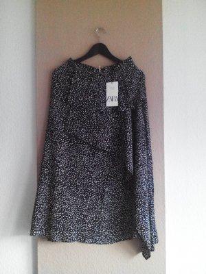 Zara Midirock mit Volant in schwarz-weiss aus 100% Viskose, Größe 38 neu