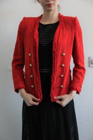 Zara Military Bouclé Blazer rot elegant