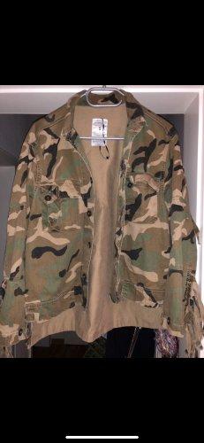 ZARA Military Jacke Oversize Camouflage Militärjacke Olivgrüb Beige Grün