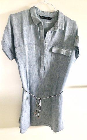 Zara Mini Kleid Blau Weiß meliert M mit Kordel