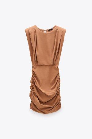ZARA Mini Kleid gr xs beige braun Neu mit Etikett