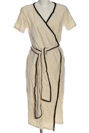 Zara Kopertowa sukienka w kolorze białej wełny-czarny W stylu casual