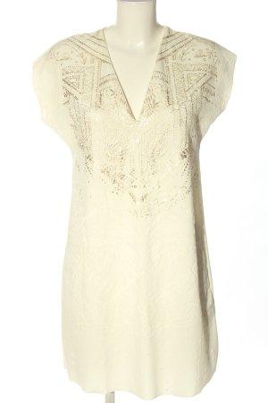 Zara Minikleid creme-goldfarben Motivdruck Casual-Look