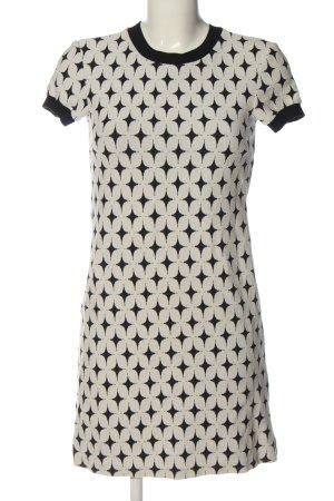 Zara Minikleid weiß-schwarz Allover-Druck Casual-Look