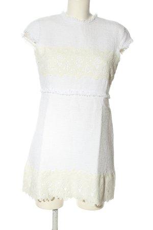 Zara Minikleid weiß-wollweiß Mustermix Casual-Look
