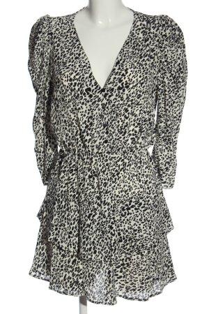 Zara Minikleid weiß-schwarz Animalmuster Casual-Look