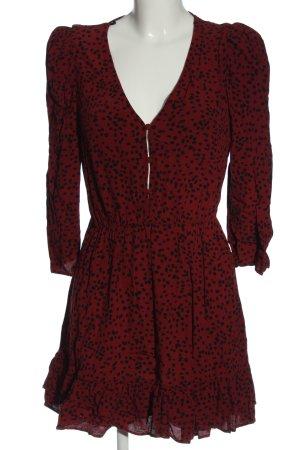 Zara Minikleid rot-schwarz Allover-Druck Elegant