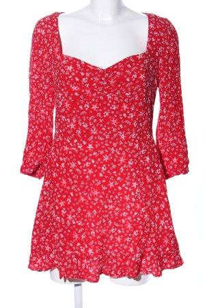 Zara Minikleid rot-weiß Allover-Druck Casual-Look