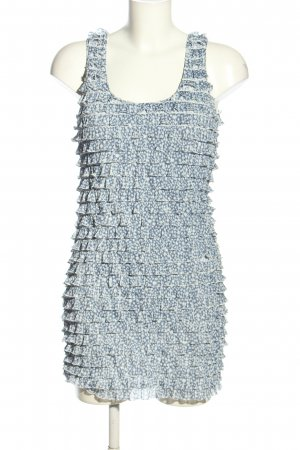 Zara Minikleid blau-wollweiß Allover-Druck Casual-Look