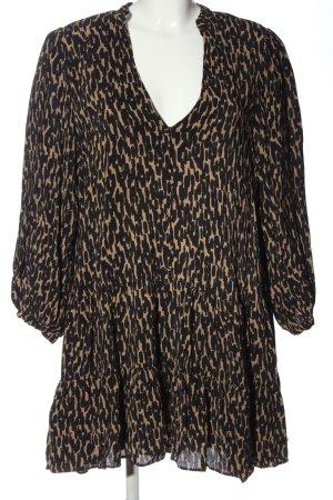 Zara Minikleid schwarz-bronzefarben Allover-Druck Casual-Look