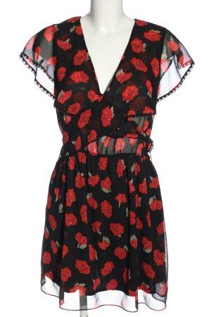 Zara Minikleid schwarz-rot Allover-Druck Casual-Look