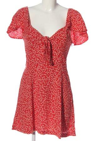Zara Minikleid rot-wollweiß Blumenmuster Casual-Look
