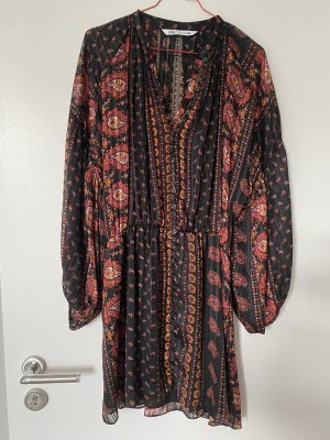 Zara minikleid Hippie rot gold Gr. M Kleid boho