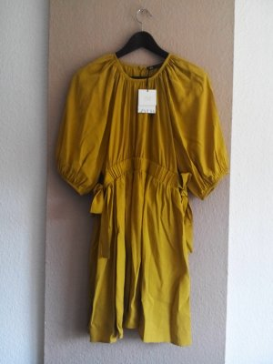 Zara Minikleid in senffarben mit Ballonärmeln aus 100% Lyocell, Größe 38, neu